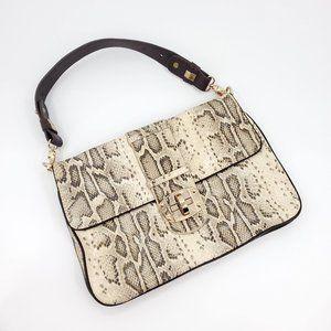 Sondra Roberts Leather Snake Print Handbag